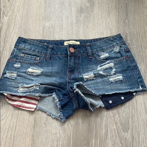 YMI Pants - American flag blue jean shorts